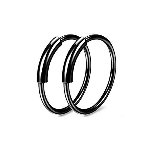 Bishiliin 2 Stücke Nasenstecker Nasenpiercing Hoop Form Schwarz Rund 6 MM Segmentring Piercing Clicker