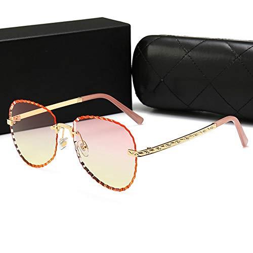 WULE-Sunglasses Unisex Fashion Classic Sonnenbrillen Frauen rahmenlose Trend Marine Film Sonnenbrillen, (Farbe : Gold Frame/Progressive pink)