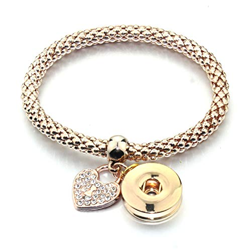 Braccialetto del Braccialetto, Regalo dei, New Gold Silver Snap Bracelet for Women Fit DIY 18Mm Snap Jewelry Elastic Snap Buttons Bracelet Jewelry 6759 Rose Gold A