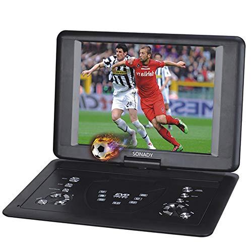 BESTSUGER Tragbarer DVD-Player, 14,1-Zoll-LED-Flüssigkristallanzeige, wiederaufladbarer Akku, SD-Karte, USB-AV-Eingang, Support Resume-Funktion (14-zoll-dvd-player)