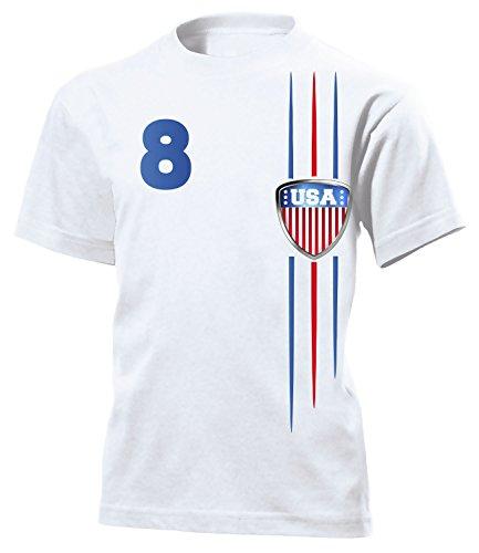 USA Fan 3300 Fussball Kinder Kids Jungen Mädchen Unisex Fanshirt Shirt Tshirt Fanartikel Artikel T-Shirts Weiss 116