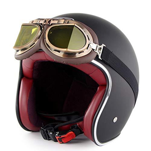 HAOHOAWU Roller Motorrad Motorrad Sturzhelm, Vintage Style Jethelm Herren Damen Komfortable Und Atmungsaktive UV-Schutz Sonnenbrille,Black,L