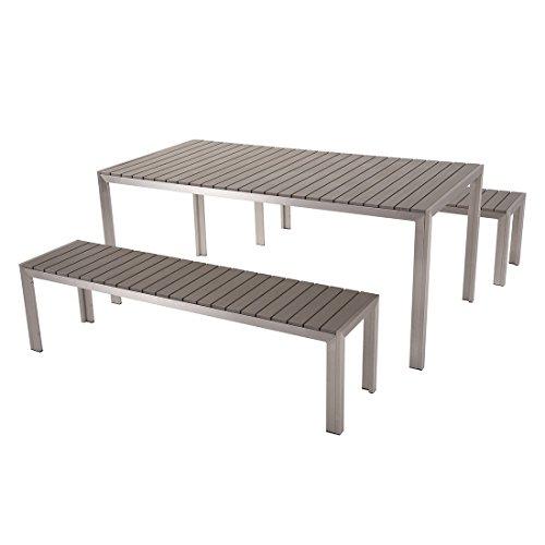 Set de jardin moderne composé d'une table et de 2 bancs gris en aluminium