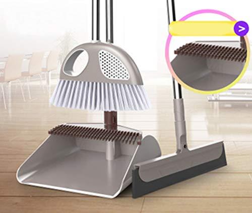 Besen und Dustpan Set,3 Piece Grips Sweep Set mit Deodoriering-Box, Wipe und Dry Floor Squeegee für die Reinigung von Home Kitchen Garden Room