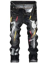 Hombres Jeans Vintage Hole Foldes De Mezclilla Trabajo Lavado Cremallera  Estampada Desgastada Pantalones Básicos Hippie Hip Hop… 4f607d6a341