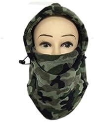 Multifuncional Thinkened cubierta doble forro polar sombrero camuflaje máscara tocados sombrero bufanda Gorra de terciopelo cara caliente Caperucita para hombres y mujeres