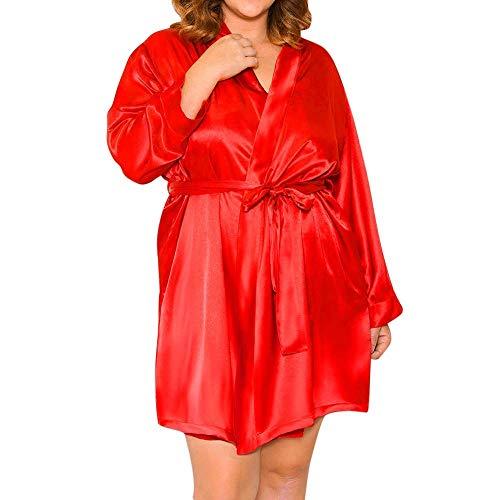 Qiusa Plus Size Sexy Dessous Damen Seide Spitze Robe Kleid Babydoll Nachthemd Nightgown Nachtwäsche (Farbe : Rot, Größe : 4X)