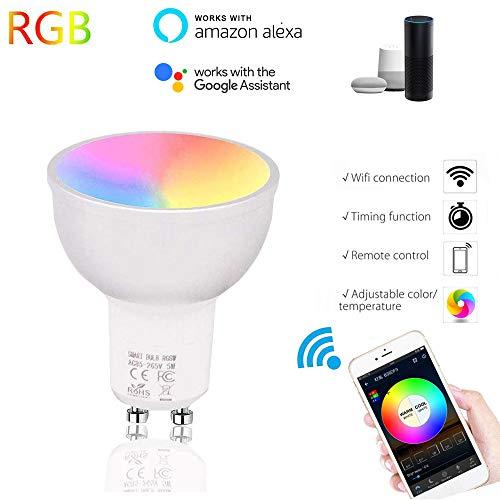 STRUGGGE 1Pack GU10 LED Smart WiFi Bulbi Dimmerbar Spot Light Bulb Daylight Lamps Multicolor LED Bulb 5W Kompatibel mit Alexa Google Assistant -