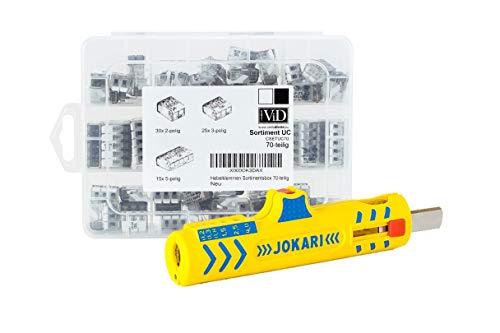 KOMBI: ViD Hebelklemmen-Sortiment 70-teilig Hebelklemmen 2-, 3-, und 5-polig & JOKARI Universal Entmantler No. 15