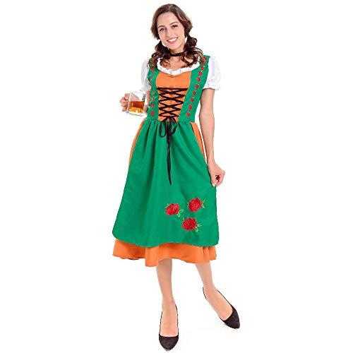 NGHJF Frauen Oktoberfest Kostüm Bayerische Erwachsene Weibliche Bier Mädchen Kostüm Langes Kleid Cosplay Kostüm@XL (Für Erwachsene Bier Mädchen Kostüm)