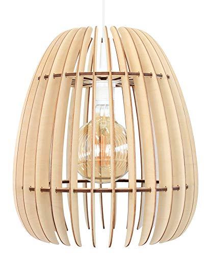 wodewa Suspension Luminaire Bois I Terra I Naturelle Lustre Bois Lampe Suspendue Bois Lampe Plafond en Bois Reglable Hauteur E27 LED Chambre Lustre Salon I Nature