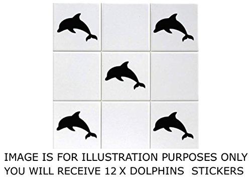 PRO CUT GRAPHICS - Pack de 12 pegatinas decorativas con diseño de delfín, vinilo, especiales para azulejos de baño de 15 x 15 cm