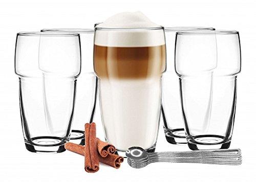 6 stapelbare Latte Macchiato Gläser 300ml Kaffeegläser + 6 Edelstahl-Löffel