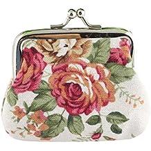 Bolso de Mano de señora Retro Vintage Flor pequeña Cartera Cerrojo Bolso Lightweight Portable and Fashionable