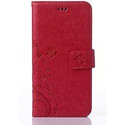 C-Super Mall-UK Samsung Galaxy S4 i9500 / GT - i9505 coque,gaufré papillon PU cuir Portefeuille flip Stand coque pour Samsung Galaxy S4 i9500 / GT - i9505 (Rose rouge)