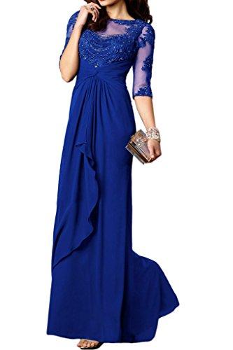 Charmant Damen Edel Spitze chiffon Langarm Brautmutter Formalekleider promkleider Partykleider Lang Geraft Rock Royal Blau