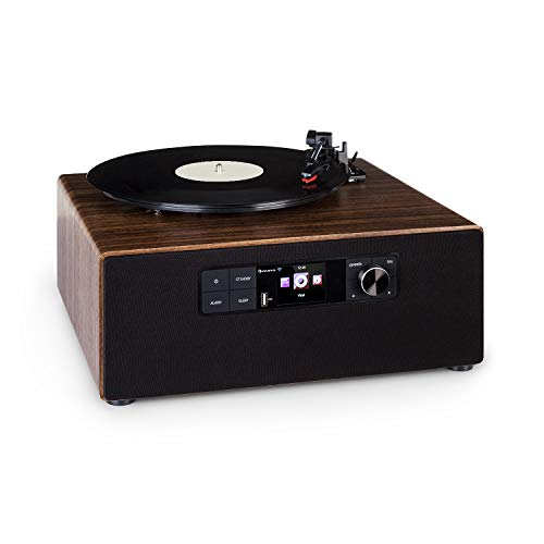 auna Connect Vinyl Cube Plattenspieler, Internetradio DAB+ UKW, Leistung: 40 W max, integrierte Lautsprecher, Smart Radio, 33/45/78UpM, Bluetooth-Funktion, USB-Port, App-Steuerung, braun