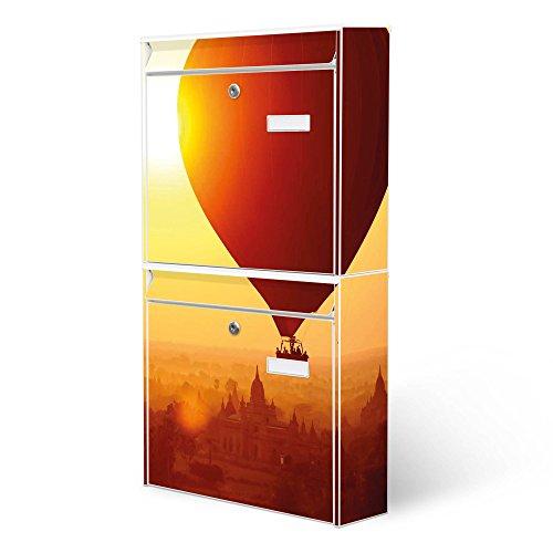 BANJADO Briefkastenanlage 2 fach | Stahl weiß mit 2 Briefkästen | Doppelbriefkasten 36x64x10cm | inklusive Namensschild | Wandmontage mit Motiv Ballon Über - Brief X Ballon
