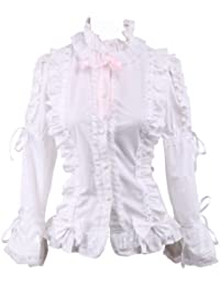 an tai na  Blanca Algodón Encaje Volantes Bows Kawaii Victoriana Lolita  Camisa Blusa 2bc5d22a0c1