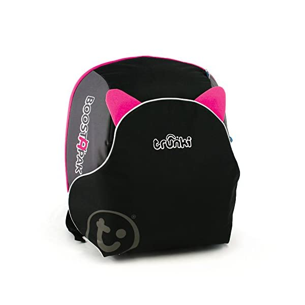 Trunki BoostApak - Travel Backpack & Child Car Booster Seat for Group 2-3 (Pink)  QUICKLY TRANSFORMS - Kid's bag to portable booster cushion in seconds (featuring internal hard shell and fold out seatbelt guides) AVOID HIRE CHARGES - On fly drive holidays! Can also be used as dining, cinema or stadium booster to see the action HAND LUGGAGE - 8-litre capacity for packing toys/games/stationary keeping children entertained on the go 1