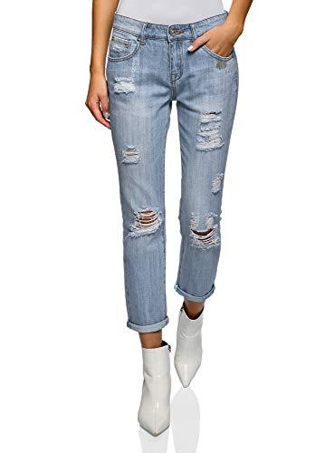 Oodji ultra donna jeans boyfriend effetto invecchiato, blu, 28w / 32l (it 44 / eu 40 / m)