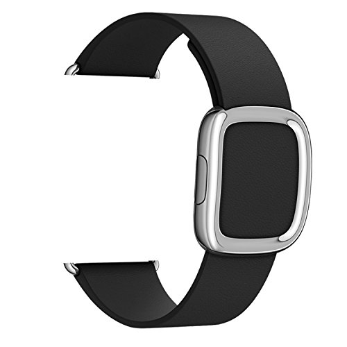 Apple Watch Correa,Plata Moderna Hebilla,MaKer De lujo del cuero genuino,Pulseras de repuesto para iWatch Serie 2 y 1---[42mm,Negro]