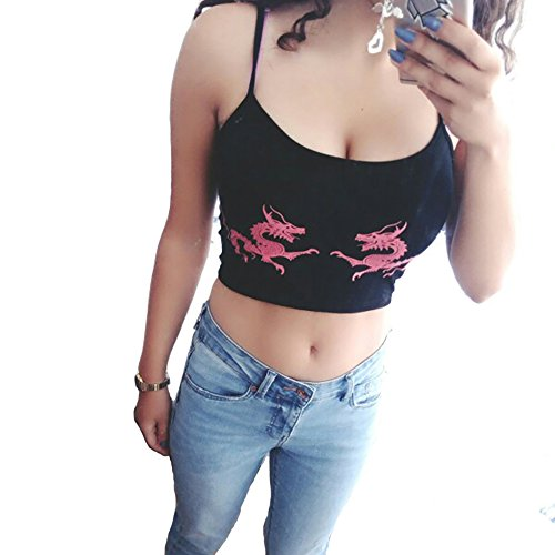 malianna Femmes Chinois Dragon Serpent Imprimé Cropped Noir Sexy Backless Sangle Crop Top Rouge
