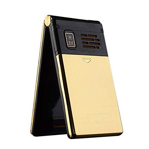 Wokee M2 Großtasten Mobiltelefon Klapphandy Dual Screen Dual SIM-Karte FM Senior Telefon Flip Handy für Alte Menschen,Kinder, Damenhandy (Gold) (Flip-telefon Dual-sim)