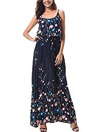 76751dbff7f KorMei Damen Sommerkleid Ärmellos Boho A-Line Lang Kleid Maxikleid Party  Strandkleid