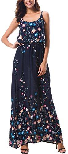 KorMei Damen Sommerkleid Ärmellos Boho A-Line Lang Kleid Maxikleid Party Strandkleid Blau Blumen XL
