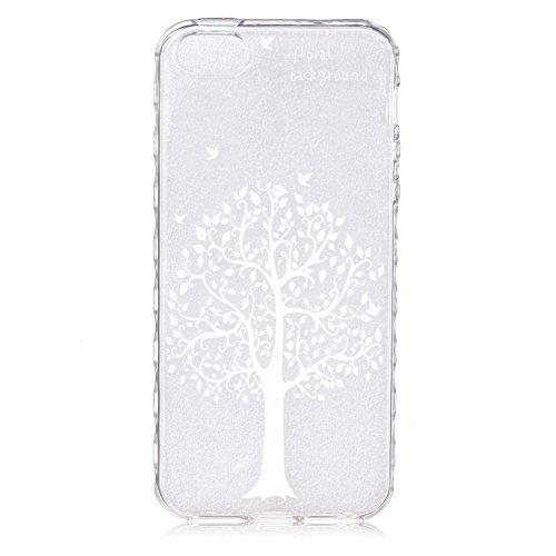 iPhone 5C Coque Silicone,iPhone 5C Coque Transparente,Coque Housse pour iPhone 5C,iPhone 5C Souple Coque Etui en Silicone,EMAXELERS iPhone 5C Coque Silicone Etui Housse,iPhone 5C Coque blanc Fleur Mod B Animal TPU 16