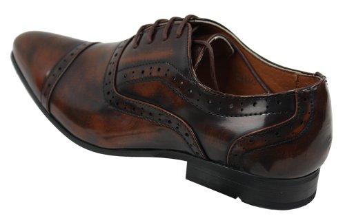 Hommes Designer de brevet brillant Noir Gris Brun Derbies Pointu Chaussures lacé Brun