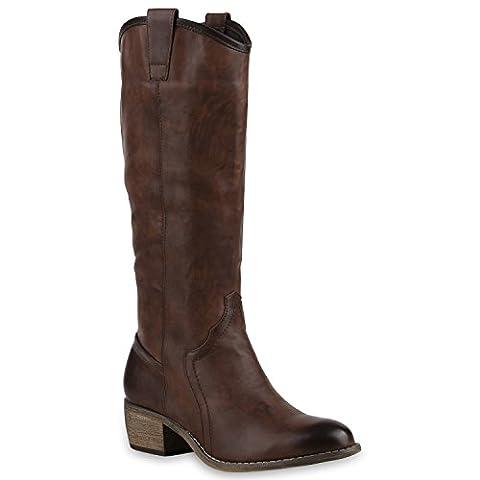 Damen Cowboy Stiefel Langschaft Western Boots Lederoptik Schuhe 128569 Braun 38 | Flandell