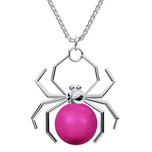 Crystals & Stones *Halskette* *SPINNE* mit *VIELE FARBEN* Silber 925 Perlen Swarovski Elements - Schön Damen Halskette - Schmuck Geschenk mit Kristallen von Swarovski PIN/75 (Neon Pink)