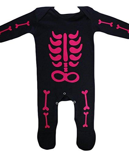 ostüm Romper Body Skelett Bones Halloween Karneval, Pink, Größe 50-62, 1-3 Monate (Mumie Kostüm Baby)