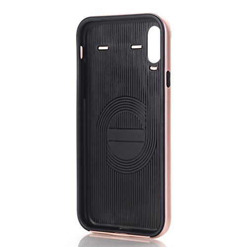 iPhone X Armor Cover, Horizontale Linien Carbon Fiber Texture HYbrid Bumper Frame Thin Custodia, TAITOU New Cool Ultralight Slim Soft Protect Phone Cover For iPhone X RoseGold BRoseGold