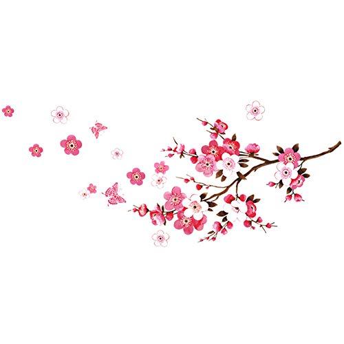 NiceButy Romantische Blumenwandaufkleber schöne Kirschblüte Wandaufkleber Kunstwandaufkleber für Familie Wohnzimmer Schlafzimmer DIY Tools
