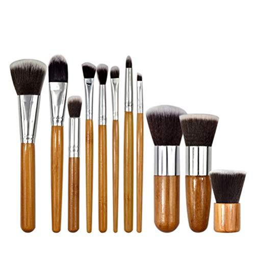 11 Pcs Bambou Maquillage Pinceau Professionnel Ensemble Kabuki Maquillage Pinceau Cosmétiques Fondation Mélange Blush Poudre pour Le Visage Poudre Brosse Maquillage Pinceau Kit