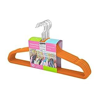 ASIS nettrade Kleiderbügel mit Veloursmantel - 10 Stück (1 Set) - Farbe: Orange - samt beflockte Oberfläche, Rutschfeste Kleiderbügel
