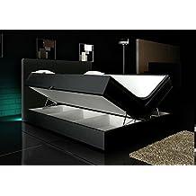 Boxspringbett Schwarz 160x200 inkl. 2 Bettkasten Hotelbett Bett LED Polsterbett Rio Lift