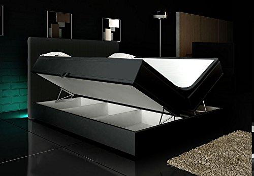Boxspringbett Weiß Lift 180×200 inkl. 2 Bettkästen Hotelbett Bett LED