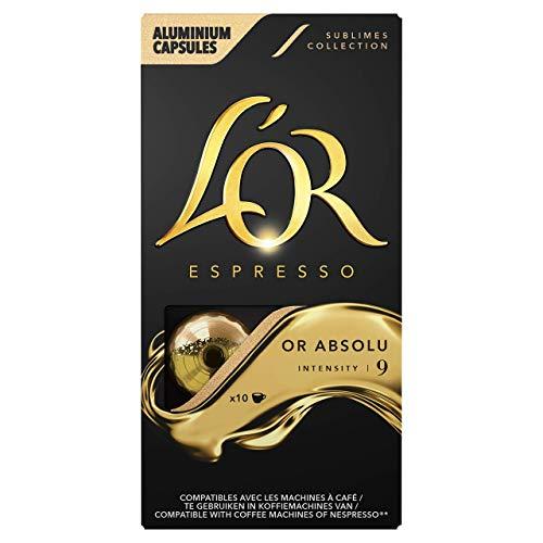 L'Or Espresso Or absolu - Intensité 9 - 100 Capsules Compatibles Nespresso (10 packs de 10)