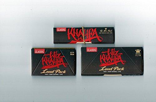 Wiz Khalifa 1Stück King Size Slim Laut Pack + 1Pack von 1–1/4Größe laut Pack + 1Wiz Connoisseur Combo von Trendz Combo Pack-tray