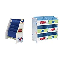 Vehicles Kids Sling with Bookcase Bedroom Storage Unit with 6 Bins by HelloHome