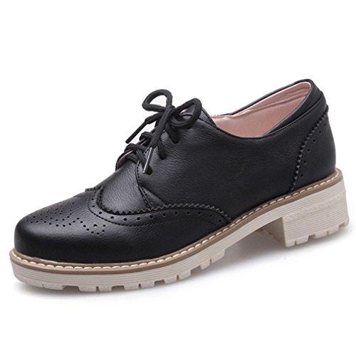 Xianshu Bloc Haferlschuh Lacer Femmes Noir Chaussures Chaussures Respirant Plat 11xrvTZPwq