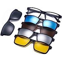 نظارات الرؤية الليلية المستقطبة العاكسة، مجموعة من 5 نظارات شمسية مغناطيسية سوداء مستقطبة للتثبيت بالضغط مع إطار من البلاستيك للقيادة الليلية