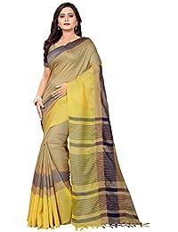 Richa Fashion World Women's Linen Cotton Unique Saree with Blouse Piece (22E RF LN5, Gold and Yellow, Free Size)