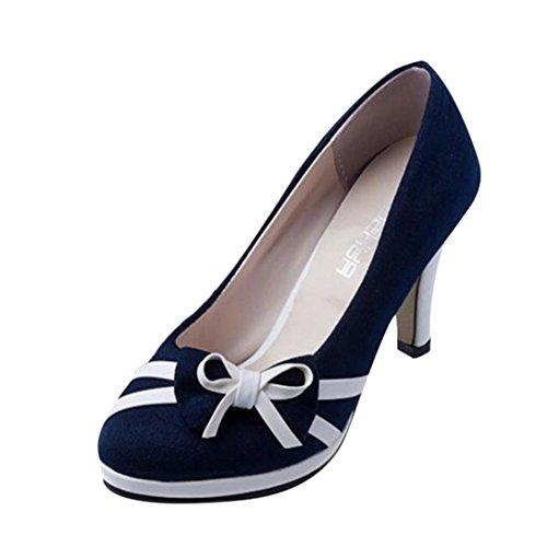 UFACE Damen Frühlings Art und Weisebogen-Runde Pumpen Arbeiten Runde Zehe Schuhe um (36, Glas blau)