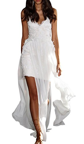 Fanciest Damen Spaghetti Straps High Low Spitzen Strand Brautkleider Ivory UK18
