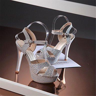 LvYuan Sandalen-Party & Festivität Kleid-maßgeschneiderte Werkstoffe Glanz-Stöckelabsatz-Club-Schuhe-Silber Gold Silver